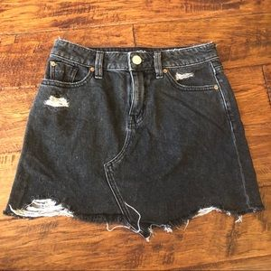 Urban Outfitters BDG Black Distressed Denim Skirt